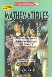 Resume De Cours, Textes Et Corriges De Devoirs - Intérieur - Format classique