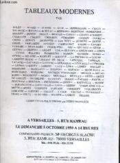Catalogue Ventes Aux Encheres - Tableaux Modernes - A Versailles Le Dimanche 5 Octobre 1980. - Couverture - Format classique