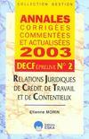 Annales Corrigees, Commentees Et Actualisees 2003 ; Decf 2 ; Relations Juridiques Decredit, De Travail Et De Contentieux