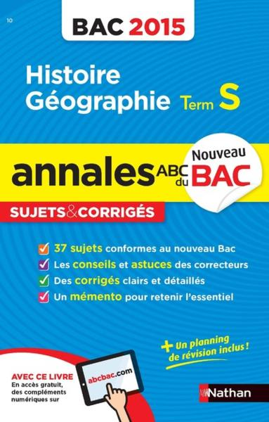 Annales Bac 2015 Hist/Geo T.S  - Collectif