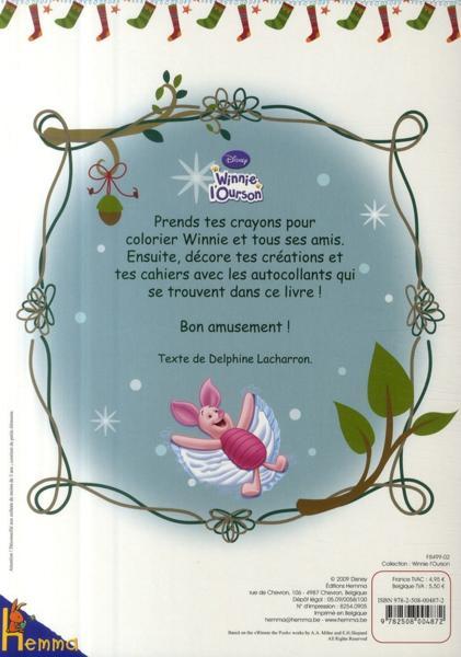 Livre coloriage no l avec stickers winnie l 39 ourson - Winnie l ourson noel ...