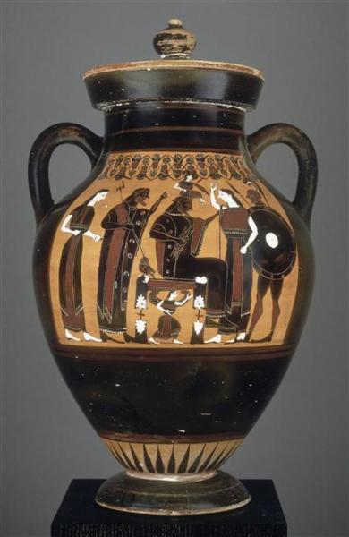 Amphore a figures noires reprèsentant la naissance d'Athèna sortie de la tête de Zeus