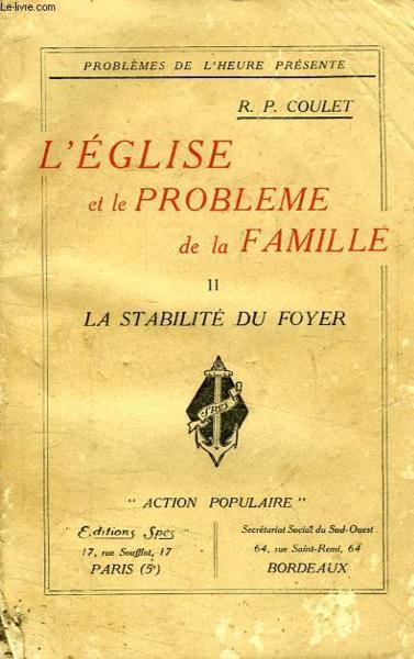 Livre l 39 eglise et le probleme de la famille tome ii la for Les problemes de la famille nombreuse