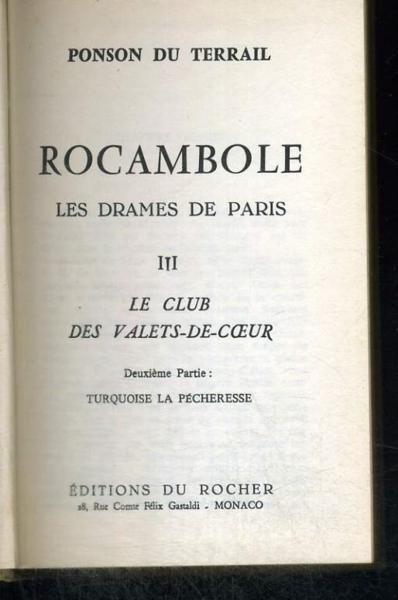 livre rocambole les drames de paris ponson du terrail acheter occasion 1964. Black Bedroom Furniture Sets. Home Design Ideas
