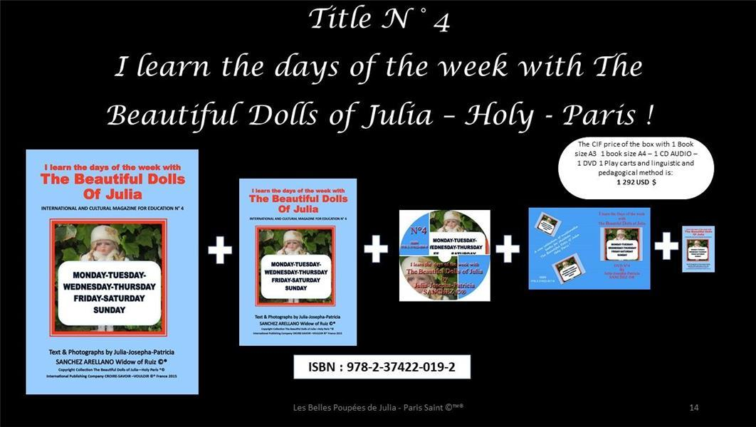Vente  I learn the days of the week with the beautiful dolls of Julia  - Julia J.P. Sanchez  - Julia-Josepha-Patricia Sanchez