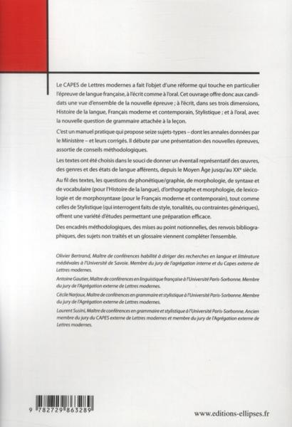 livre capes lettres modernes l 233 preuve de langue fran 231 aise narjou bertrand