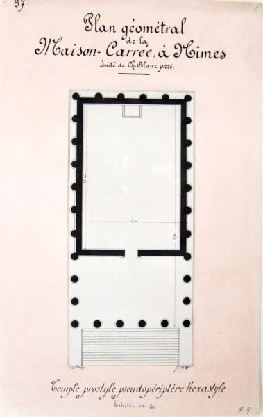 livre la maison carr e n mes beau lavis original. Black Bedroom Furniture Sets. Home Design Ideas