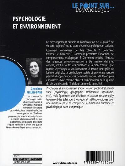 Psychologie et environnement. Des concepts aux applications - Ghozlane Fleury-Bahi