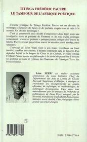 Titinga Frederic Pacere ; Le Tambour De L'Afrique Poetique - 4ème de couverture - Format classique