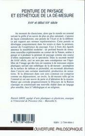 Peinture De Paysage Et Esthetique De La De-Mesure ; Xviii Et Debut Xix Siecle - 4ème de couverture - Format classique