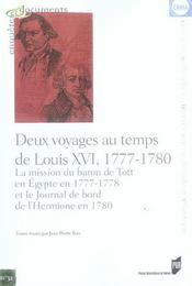 Deux Voyages Au Temps De Louis Xvi. La Mission Du Baron De Tott En Egypte En 177 - Intérieur - Format classique