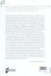 Deux Voyages Au Temps De Louis Xvi. La Mission Du Baron De Tott En Egypte En 177 - 4ème de couverture - Format classique