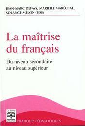 Maitrise Du Francais (La) - Intérieur - Format classique