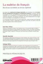Maitrise Du Francais (La) - 4ème de couverture - Format classique
