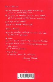 Chansons Pour Ma Melancolie - 4ème de couverture - Format classique