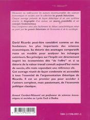 David Ricardo Vie Oeuvres Concepts - 4ème de couverture - Format classique