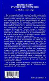 Territoires Et Dynamiques Economiques - 4ème de couverture - Format classique