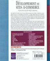 Développement De Sites E-Commerce - 4ème de couverture - Format classique