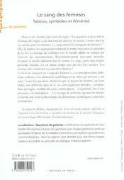 Le Sang Des Femmes ; Tabous, Symboles Et Feminite - 4ème de couverture - Format classique