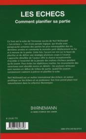 Les échecs ; comment planifier sa partie - 4ème de couverture - Format classique
