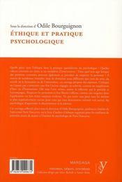 Éthique et pratique psychologique - 4ème de couverture - Format classique
