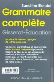 Grammaire Complete - 4ème de couverture - Format classique