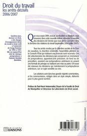 Droit Du Travail Les Arrets Decisifs 2006 2007 - 4ème de couverture - Format classique
