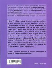 Milton Friedman Vie Oeuvres Concepts - 4ème de couverture - Format classique
