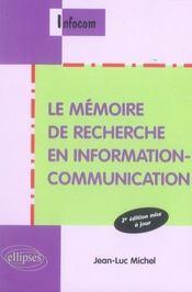 Le mémoire de recherche en information-communication (2e édition) - Intérieur - Format classique
