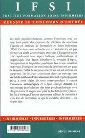 Tests Psychotechniques Et L'Entretien D'Admission En Ifsi 2e Edition - 4ème de couverture - Format classique