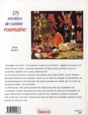 175 recettes de cuisine roumaine - 4ème de couverture - Format classique