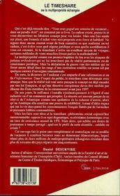 Le Timeshare Ou La Multipropriete Echangee - 4ème de couverture - Format classique