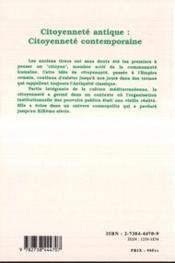Citoyennete Antique Citoyennete Contemporaine - 4ème de couverture - Format classique