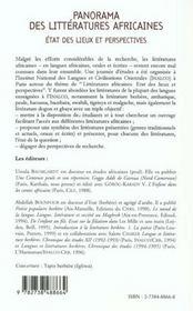 Panorama des littératures africaines ; état des lieux et perspectives - 4ème de couverture - Format classique