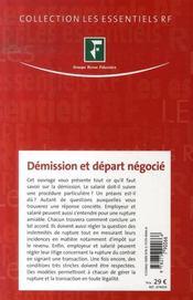 Démission et départ négocié - 4ème de couverture - Format classique