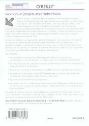 Gestion De Projets Avec Subversion - 4ème de couverture - Format classique