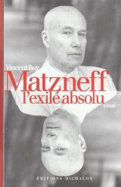 Matzneff, l'exile absolu - Intérieur - Format classique
