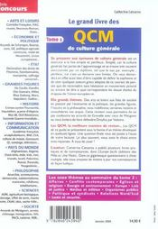Le Grand Livre Des Qcm De Culture Generale T.1 - 4ème de couverture - Format classique