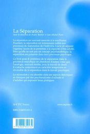 La separation - 4ème de couverture - Format classique
