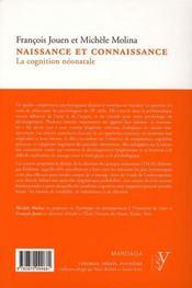 Naissance et connaissance ; cognition néonatale - 4ème de couverture - Format classique