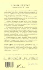 Les noms de Joyce sur une lecture de Lacan - 4ème de couverture - Format classique
