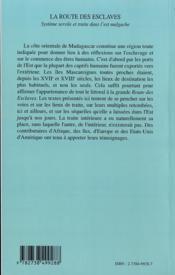La Route Des Esclaves ; Systeme Sevile Et Traite Dans L'Est Malgache - 4ème de couverture - Format classique