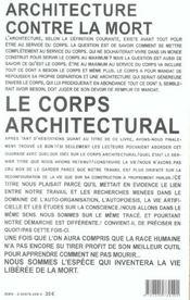 Le Corps Architectural - 4ème de couverture - Format classique