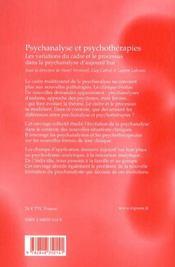 Psychanalyse et psychotherapies - 4ème de couverture - Format classique