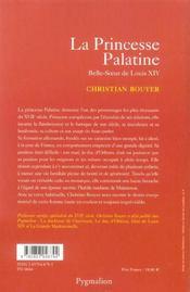 La Princesse Palatine - 4ème de couverture - Format classique