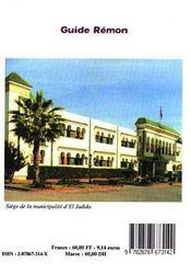 Guide Remon (Tout Savoir Sur El Jadida Et Sa Region) - 4ème de couverture - Format classique