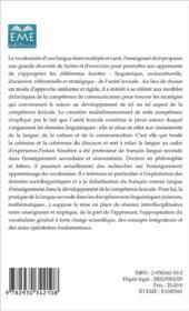 Competence lexicale t.1 ; en francais langue seconde - 4ème de couverture - Format classique