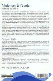 Violences à l'école ; fatalité ou défi? - 4ème de couverture - Format classique
