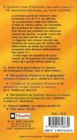 40 questions réponses t.2 ; epreuve orale d'entretien, 1ère partie ; concours de professeur d'école - 4ème de couverture - Format classique