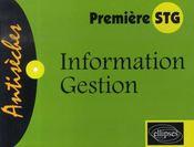 Information gestion ; 1ère stg - Intérieur - Format classique